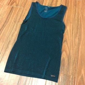 Calvin Klein Blue Sparkle Shell Tank Fitted Top